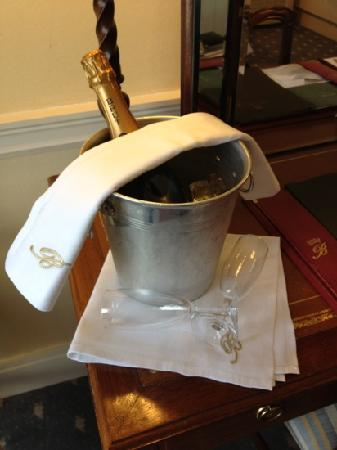 Brocket Hall: champagne on arrival to room