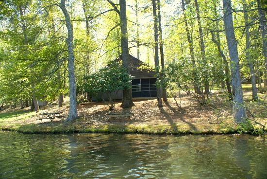 Fairy Stone State Park: Our cabin - pic taken from a paddleboat on the lake
