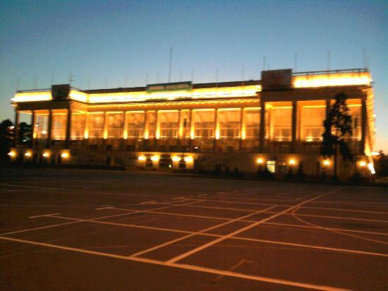Luzhniki: The indoor stadium lit up in the evening