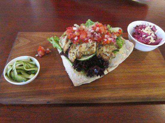 Origin Coffee Roasting: Chicken and salsa ciabatta