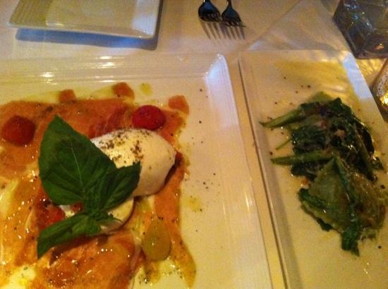 caprese and asparagus ravioli