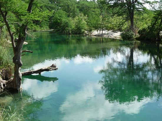 Rio Frio, TX: Frio River looking north upstream.  Deep water for swimming and shallow water on opposite side.