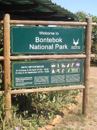 Bontebok National Park: main sign