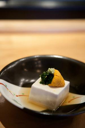 Asanebo: Sesame tofu with sea urchin roe.