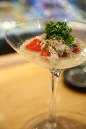 Asanebo: crab and tomato salad with shiso leaves