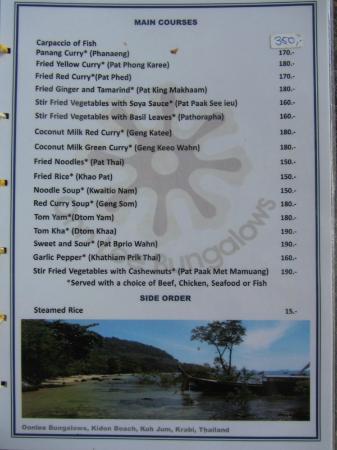 Koh Jum Oonlee Bungalows: Food Menu - Mains - as of April 2012