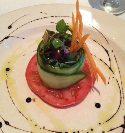 East Oceanfront Dining: Heirloom Tomato + Cucumber + Artisan Greens RAW!