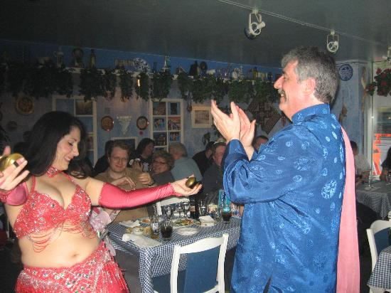 It's All Greek To Me : Our Belly Dancer and the big lug (me)
