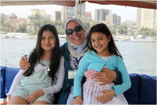 Egypt Daily Tours: Rasha with my children on a felucca.