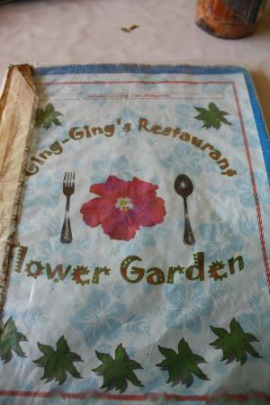 Ging-Ging's Restaurant & Flower Garden: Front cover of the menu