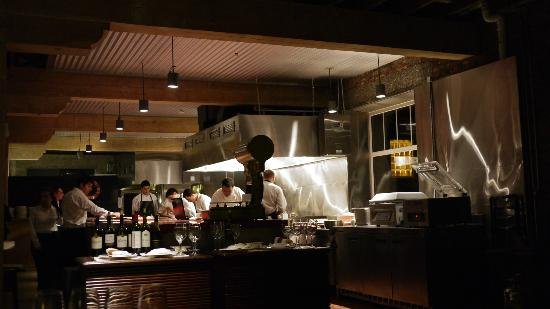 The Singular Patagonia : the open kitchen - chef Anan and staff hard at work