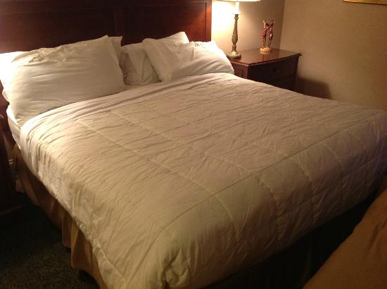 The Genesee Grande Hotel: King bed, no cover for comforter
