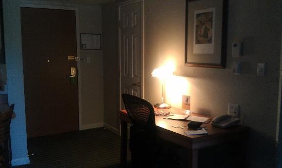 HYATT house Boston/Burlington: Door to room, closet, writing desk