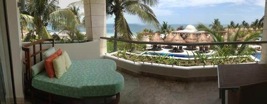 Excellence Playa Mujeres: view from room. ocean and private area where wedding parties gathered.