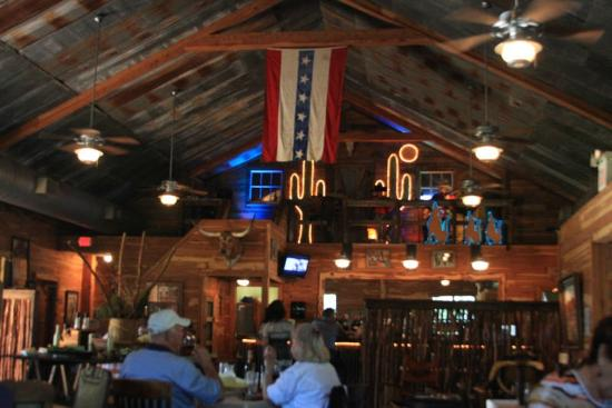 Grady's Line Camp Steakhouse: Inside Grady's...guitar and fiddle player top right