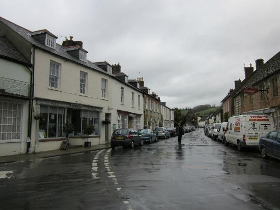View of Abbots (on left) and Long Street, Cerne Abbas.