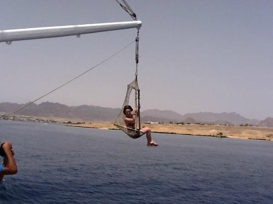 Sun Sharm Club Day Tours: Sedile con cui ti fanno toccare l'acqua mentre sei in navigazione