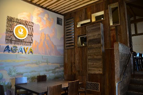 AGAVA Restaurant: Southwest Mural and Entrance to Bar