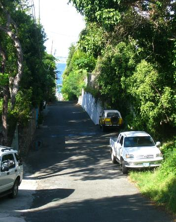 Palm Terrace Villas: View from street to Frank Bay