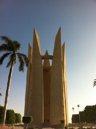 Aswan Botanical Garden: the Egyptian soviet friendship memorial at the Aswan high dam.