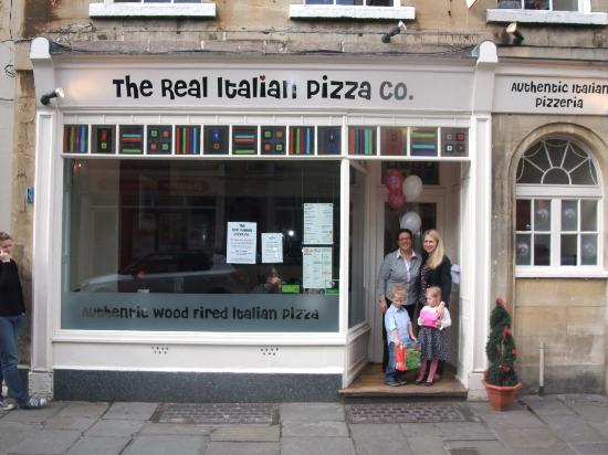 The Real Italian Pizza Co: Outside the restaurant with Manager Rossana