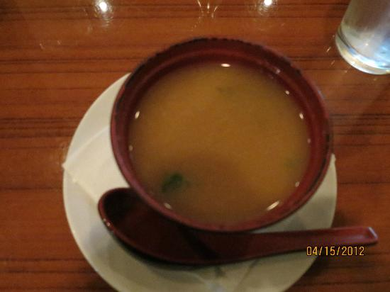 Gosh! Asian Bistro & Sushi: Miso Soup - After being stirred
