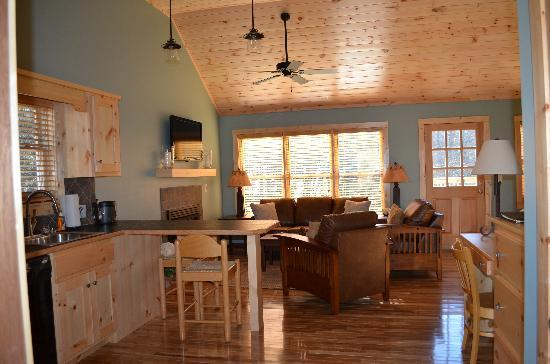 The Cabins at White Sulphur Springs: Kitchen and Living Room area