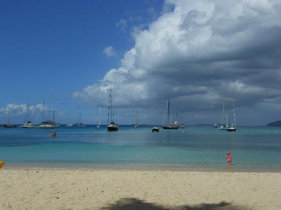 Virgin Islands Campground: Boats at Honeymoon Beach