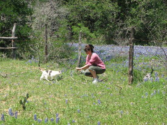 Star of Texas Bed & Breakfast: Out on Nature Trail with feline friend!