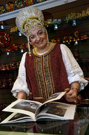 Olga Penney, owner of the Russian Tea Room in traditional Russian outfit — at Russian Tea Room.