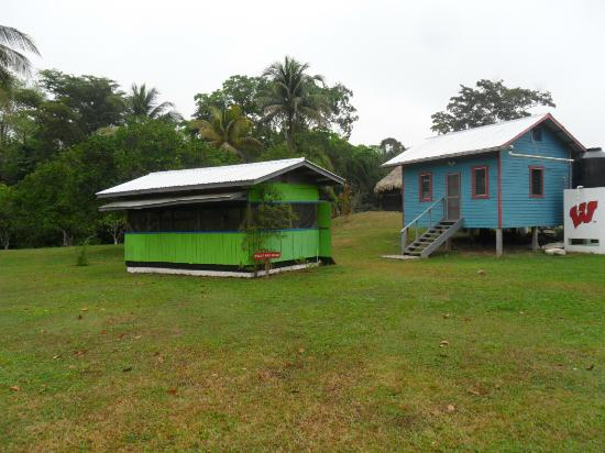Lower Dover Field Station & Jungle Lodge: Dining cabin (green) and the bunkhouse (blue)