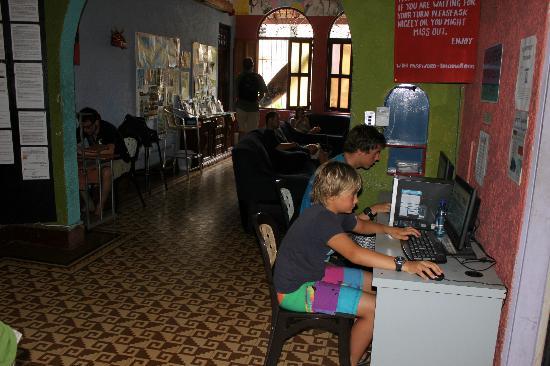 Hostal Mamallena: en la entrada - tv - y ordenadores