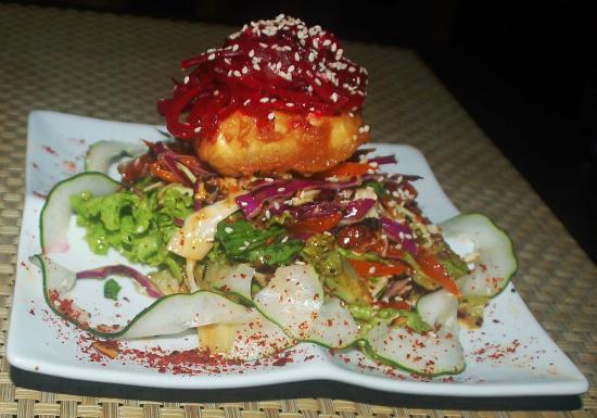 Raw Sushi + Martini Bar: Mango Almond Salad with Organic Tofu