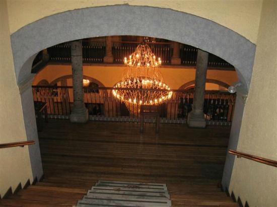 Hotel Frances: Chandelier on the main floor