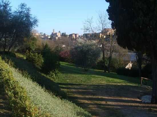 Borgo Grondaie: Hotel gardens with Sienna in the background