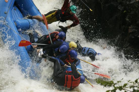 Freespirits Outdoor Company: Jamie taking a nose dive, the Linn of Tummel, Rafting, Scotland