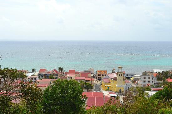 Hotel Le Soleil Levant: Vue depuis la piscine sur Capesterre et le lagon