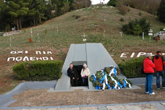 Christianakis Private Transfers & Day Tours : At the monument to the slaughtered. Sign reads NO TO WAR , PEACE