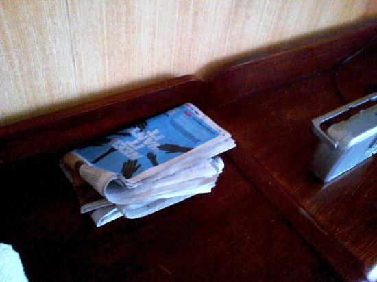 Bishop Auckland, UK: Previous guest's newspaper with no bin to put it in