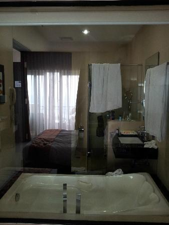 The Lake Hotel Tagaytay: Bathroom view from bed