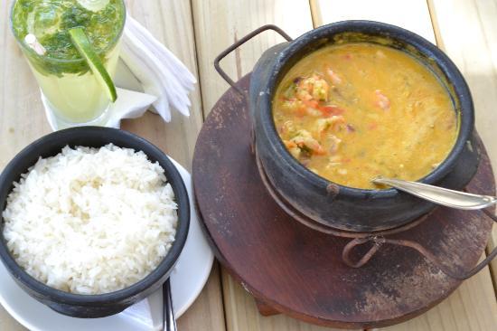 Villas de Trancoso: Langostinos en crema de coco con arroz blanco... Almuerzo delicioso!!