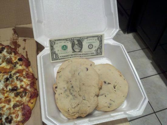 Pro's Pizza: Close up of the cookies, dollar for scale HUGE