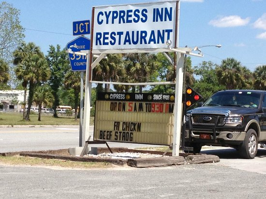 Cypress Inn: Outside sign with daily specials