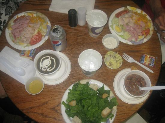 The Cabin Cafe: Chef's salads, Hungarian mushroom soup, potato salad, Caesar salad, and pinto beans
