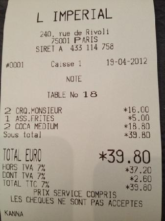 L'Imperial: welcome to Paris where your coke will cost more than your sandwich. Disgusting!