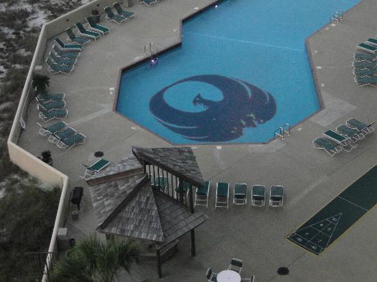 Phoenix VII: View of the pool from room balcony