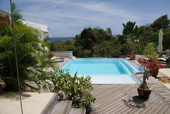 Le Cap Malo: la piscine vue du gite 1