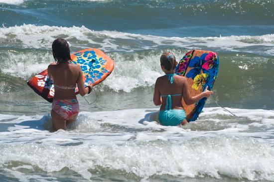 Port Aransas, TX: Boogie Boarding at the Beach