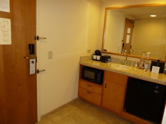 Small Kitchen Microwave Mini Fridge Off Entrance Door