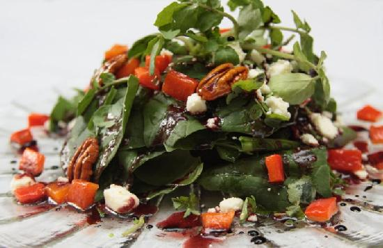 Archie's Wok: Spinach and watercress salad with a Hibiscus flower vinaigrette.